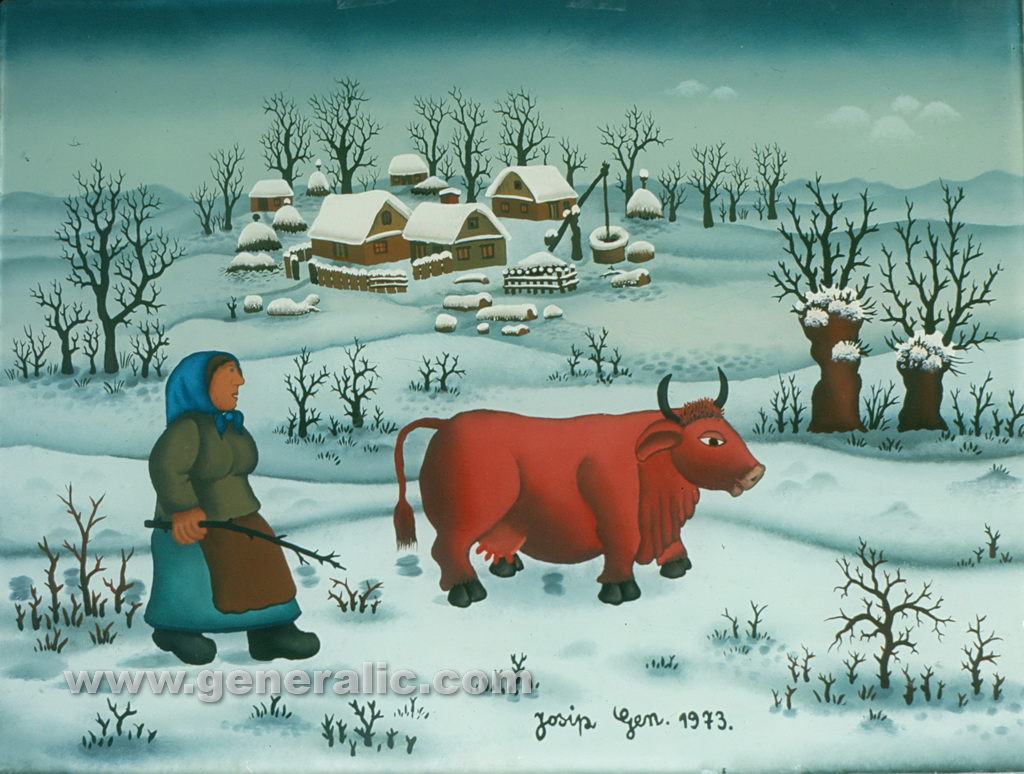 Josip Generalic, 1973, Woman with red cow, oil on glass