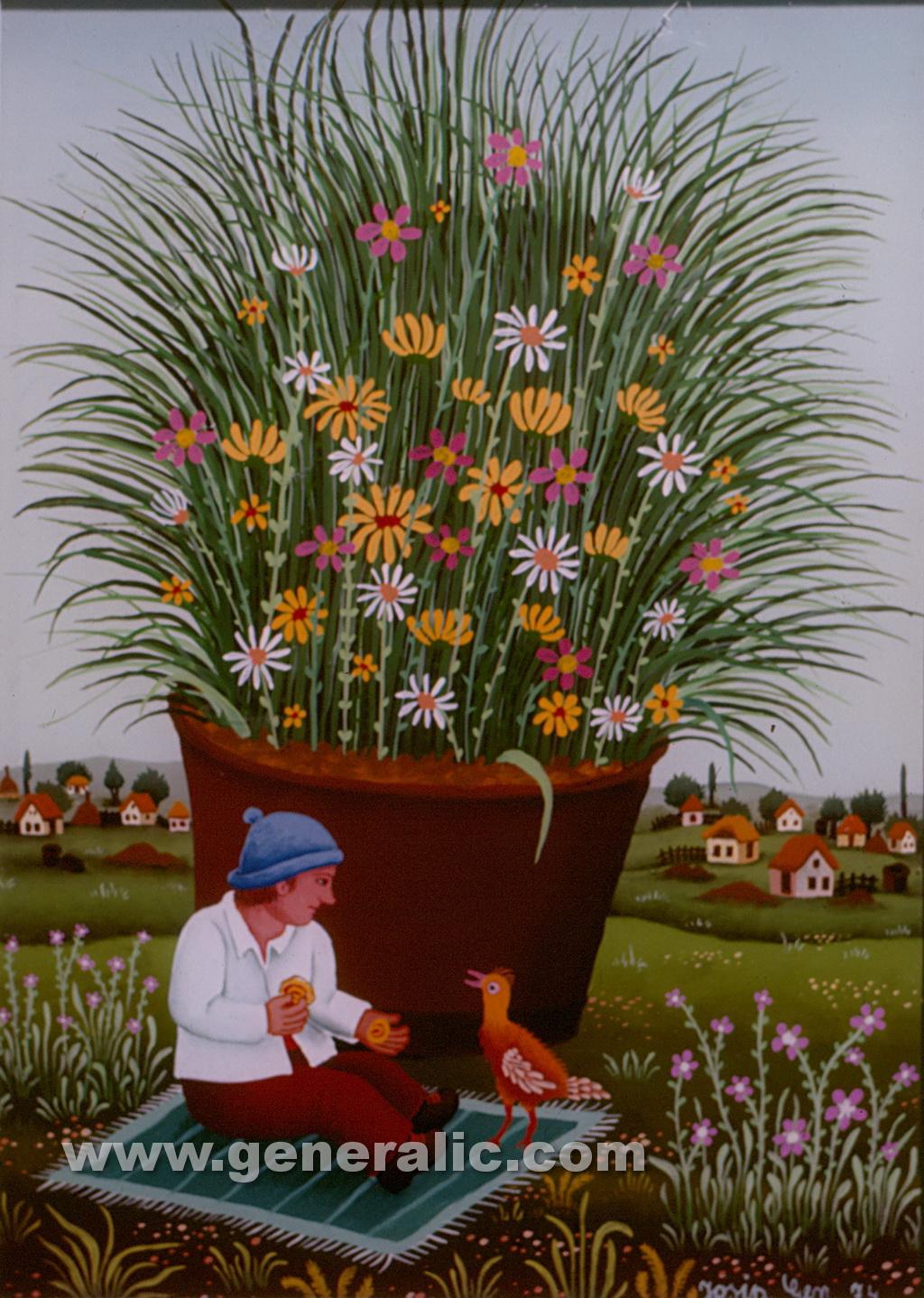 Josip Generalic, 1974, Boy feeding a bird, oil on glass, 35x25 cm