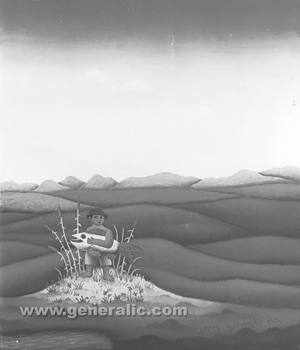 Josip Generalic, 1974, Fisherman, oil on canvas, 42x35 cm