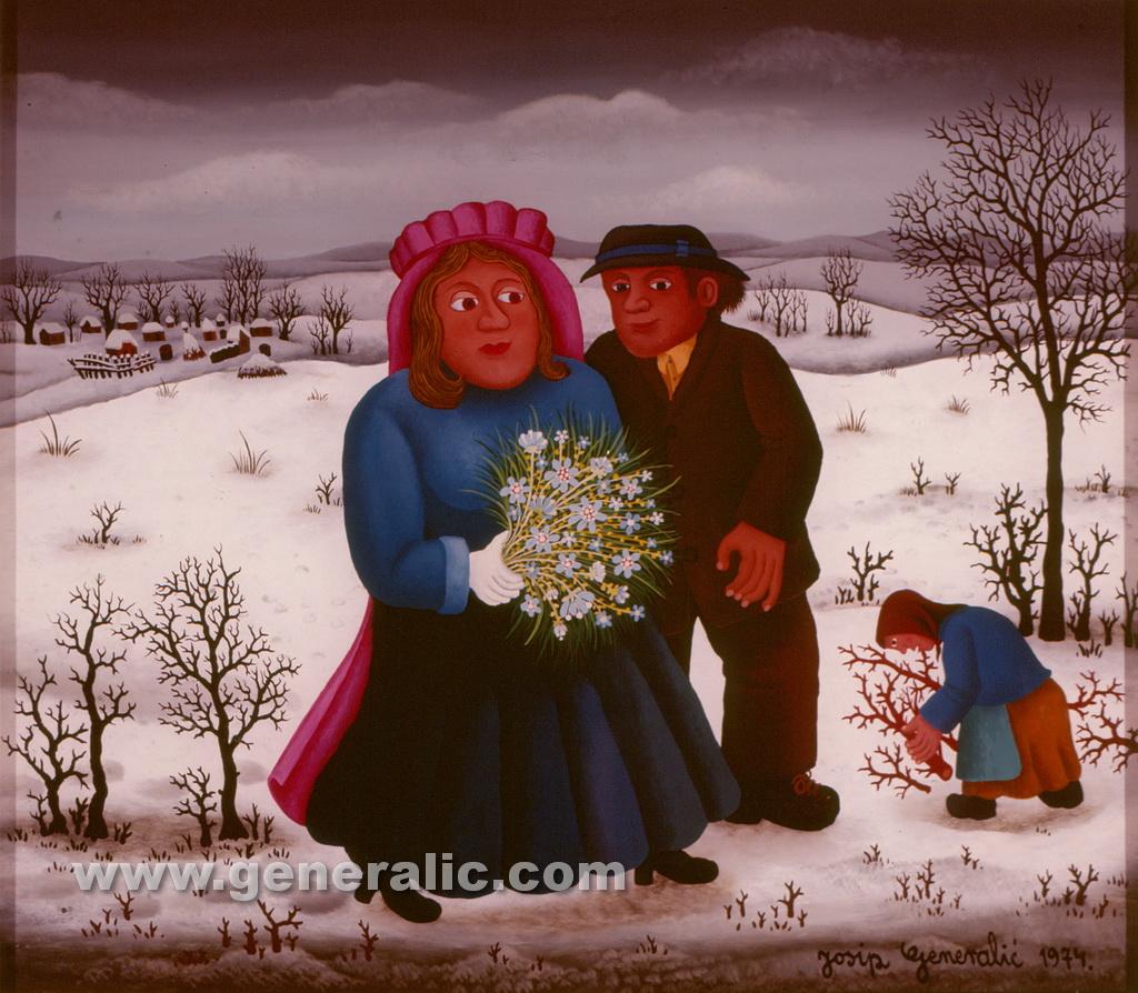Josip Generalic, 1974, Newlyweds in winter, oil on glass