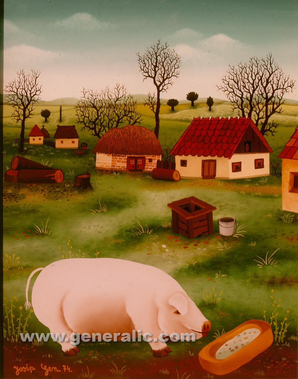 Josip Generalic, 1974, Pig is eating, oil on glass