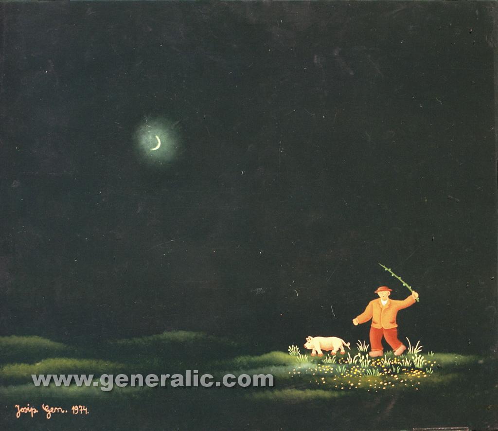 Josip Generalic, 1974, Pig makes escape, oil on glass