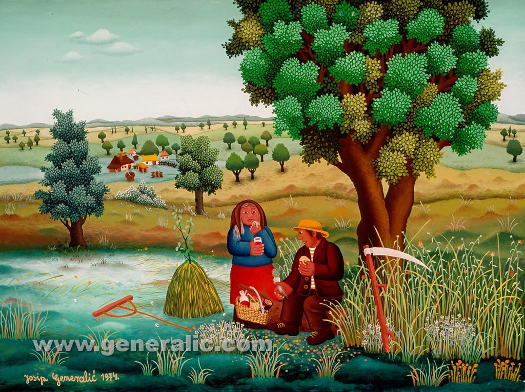 Josip Generalic, 1974, Resting in the field, oil on glass