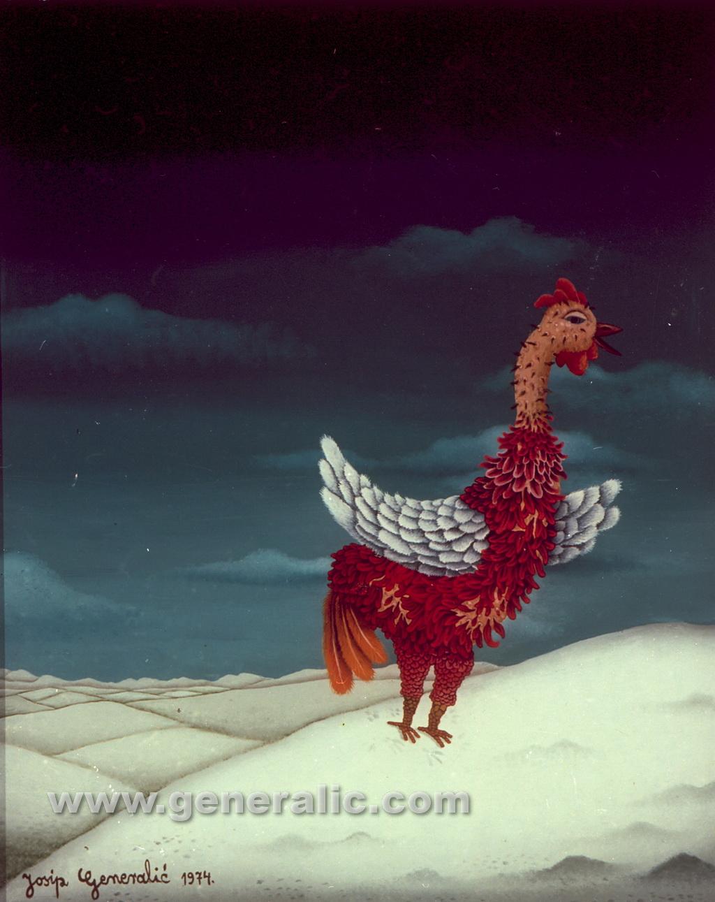 Josip Generalic, 1974, Rooster in winter, oil on glass, 55x45 cm