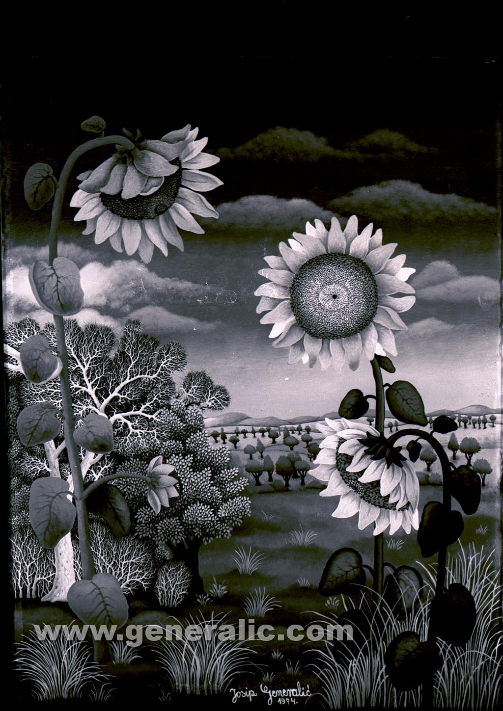 Josip Generalic, 1974, Sunflowers, oil on glass