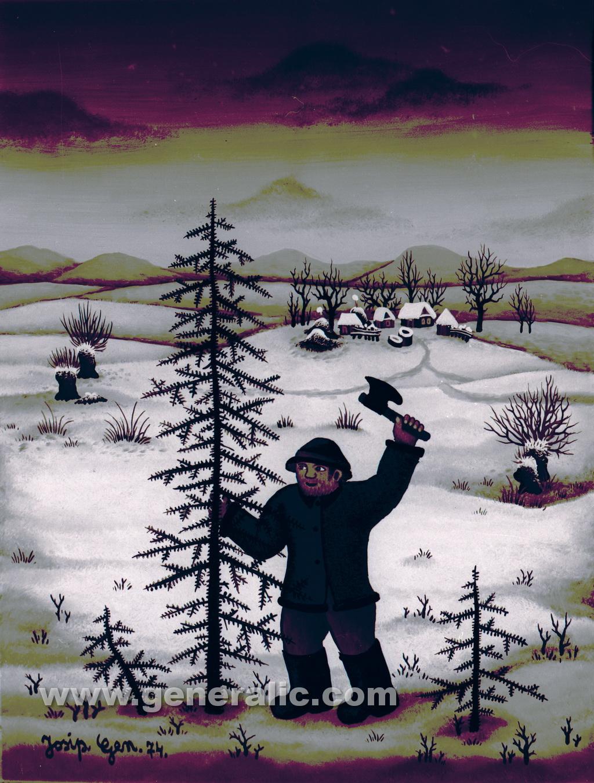 Josip Generalic, 1974, Tree for Christmas, oil on glass