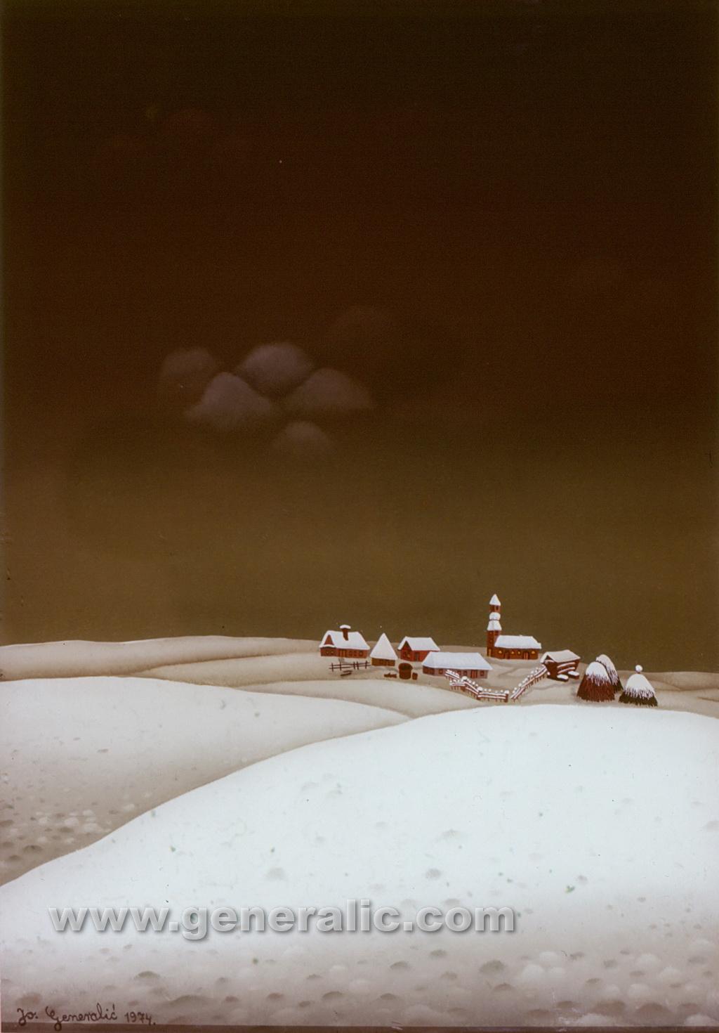 Josip Generalic, 1974, Winter landscape, oil on glass