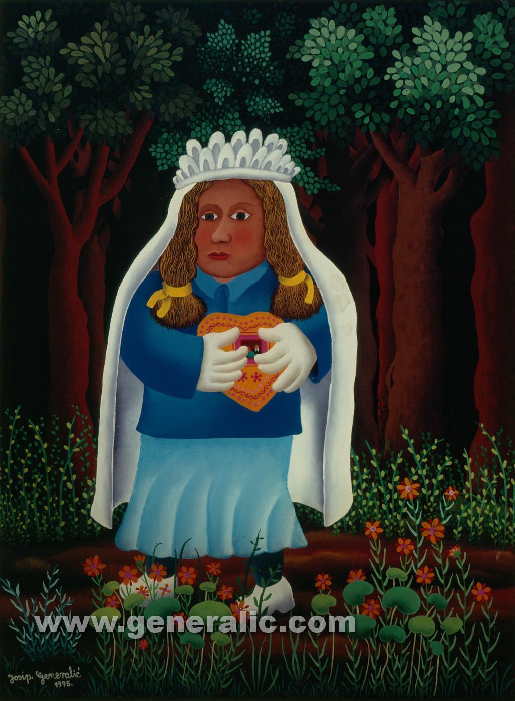 Josip Generalic, 1975, Bride in forest, oil on glass, 49x66 cm