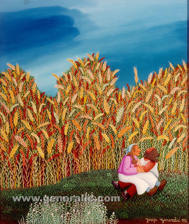 Josip Generalic, 1975, Love in hay, oil on glass