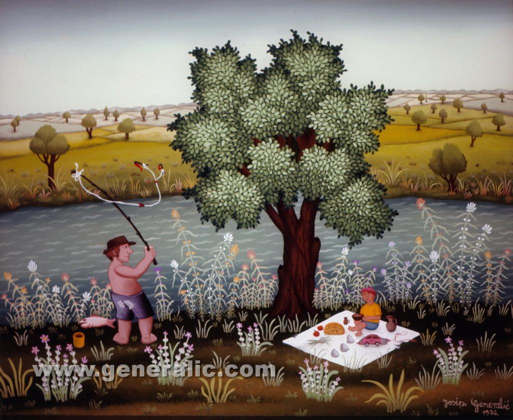 Josip Generalic, 1976, Fishing on river Drava, oil on glass
