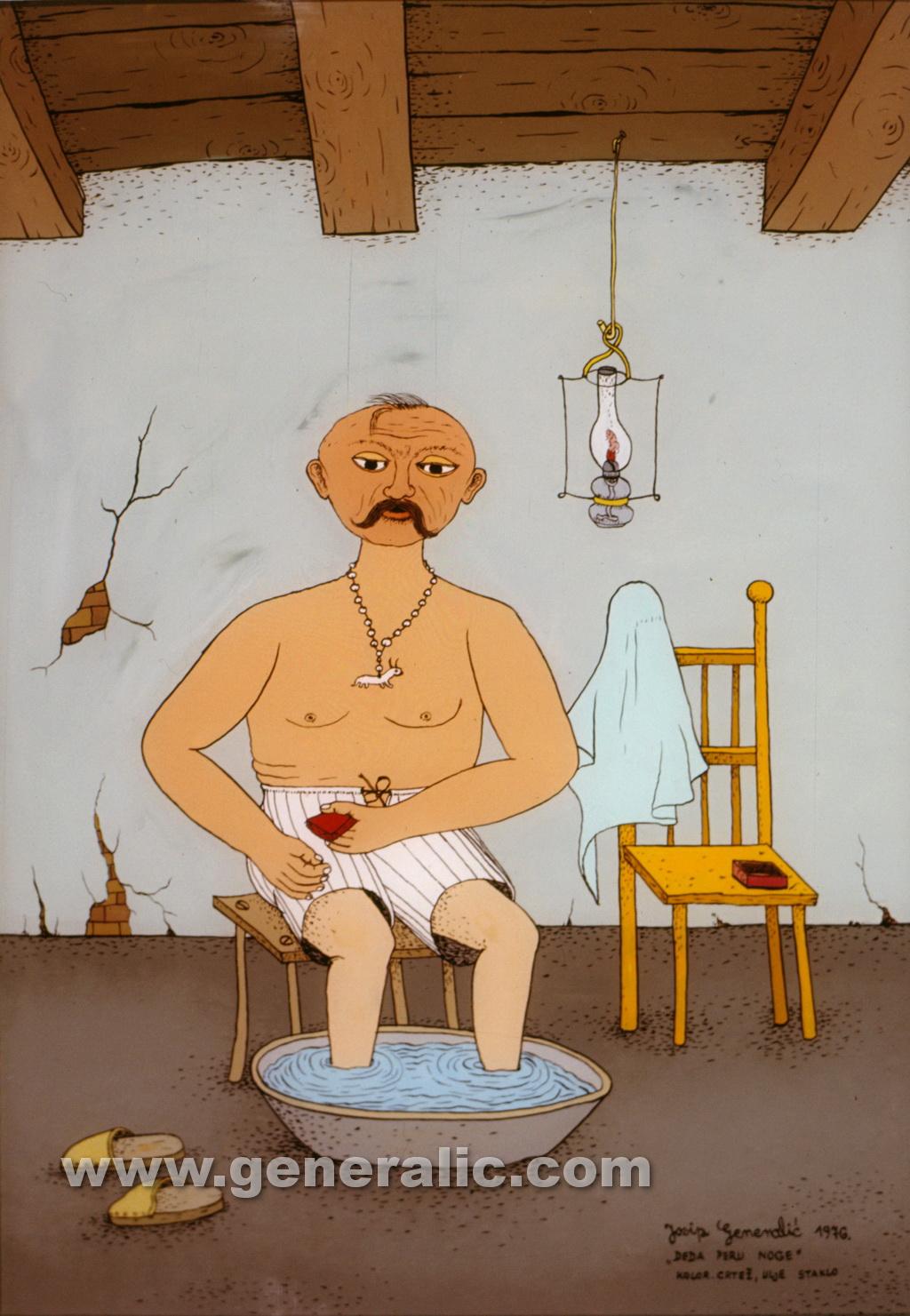 Josip Generalic, 1976, Grandpa is washing feet, oil on glass