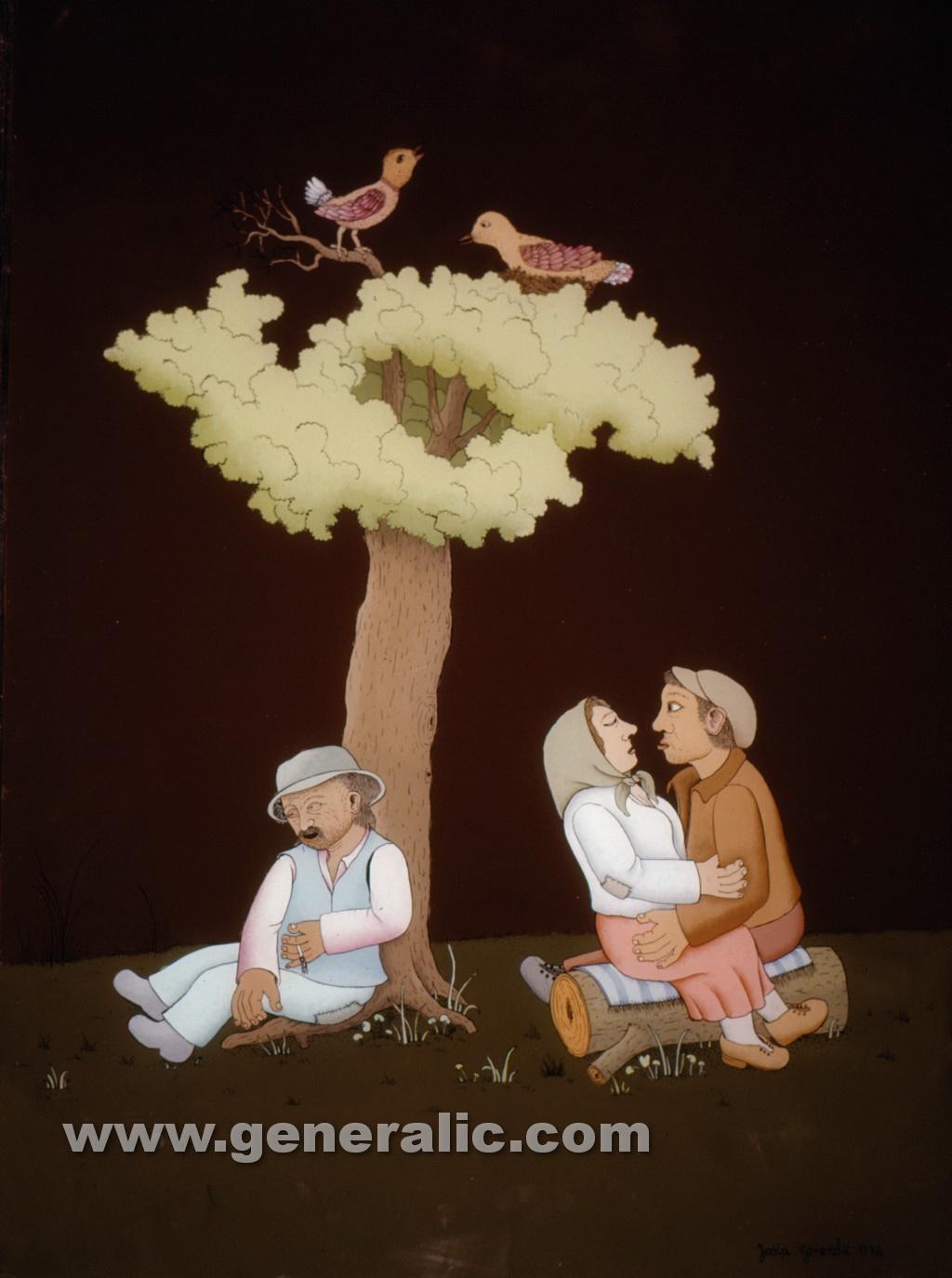 Josip Generalic, 1976, Love under a tree, oil on glass