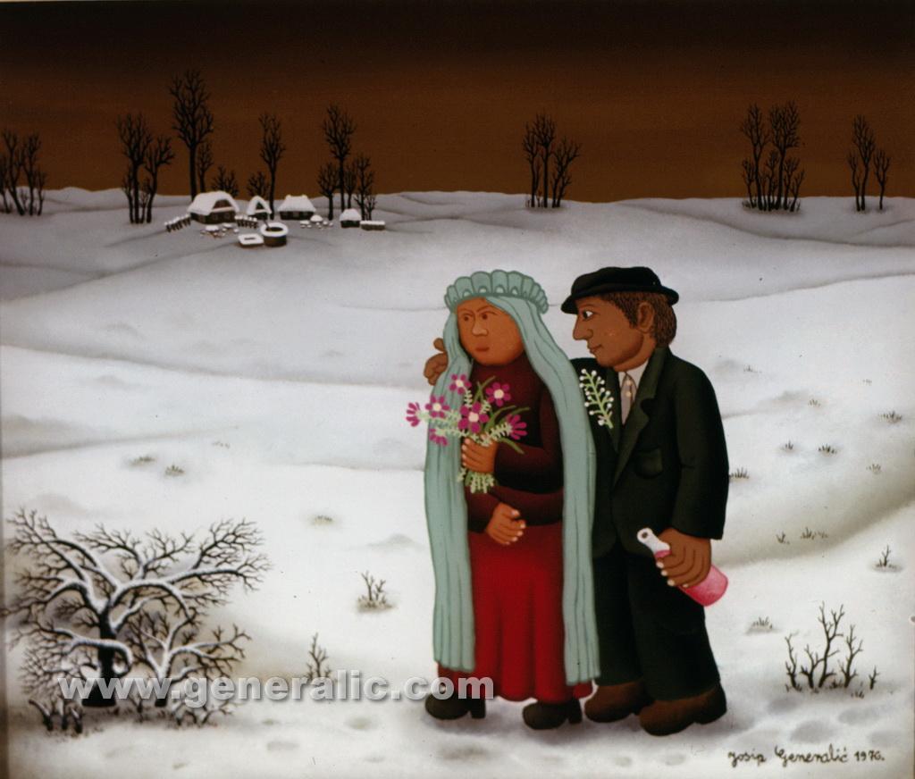 Josip Generalic, 1976, Mladenci na snijegu, oil on glass