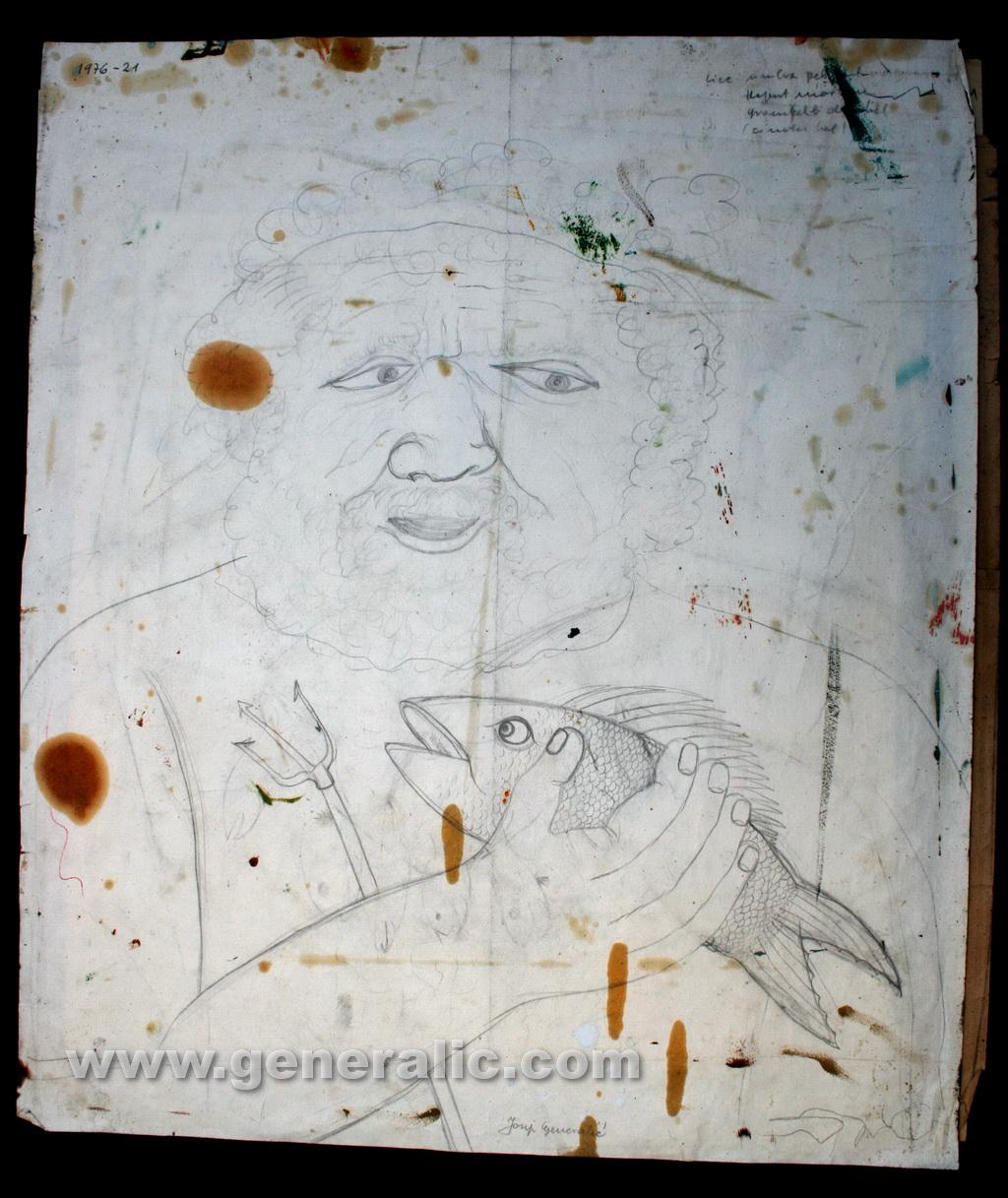 Josip Generalic, 1976, Neptune, sketch, 65x55 cm