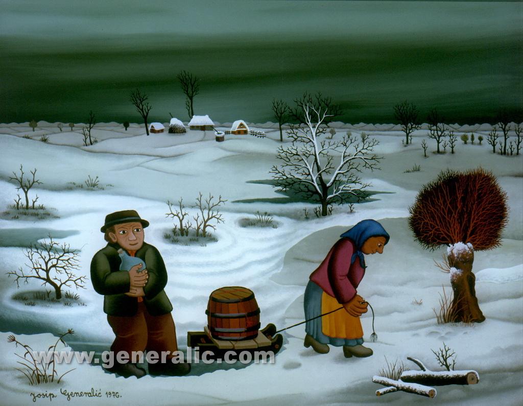 Josip Generalic, 1976, Return from vineyard, oil on glass, 40x50 cm