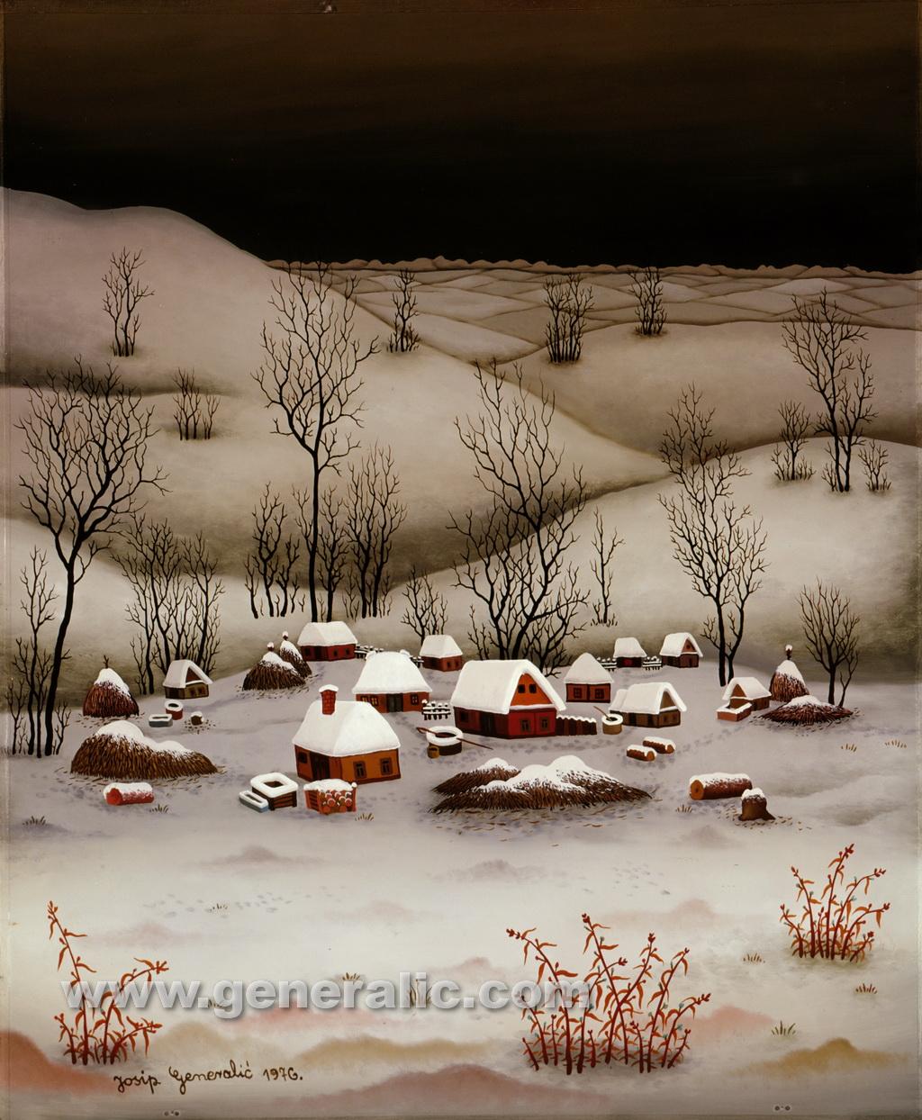 Josip Generalic, 1976, Village in winter, oil on glass