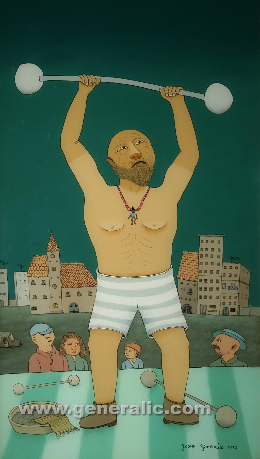 Josip Generalic, 1976, Weight lifting, oil on glass, 66x38 cm