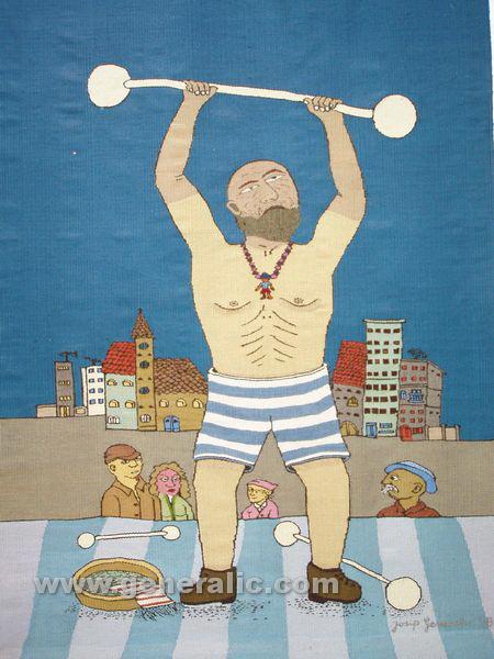 Josip Generalic, 1976, Weight lifting, tapestry