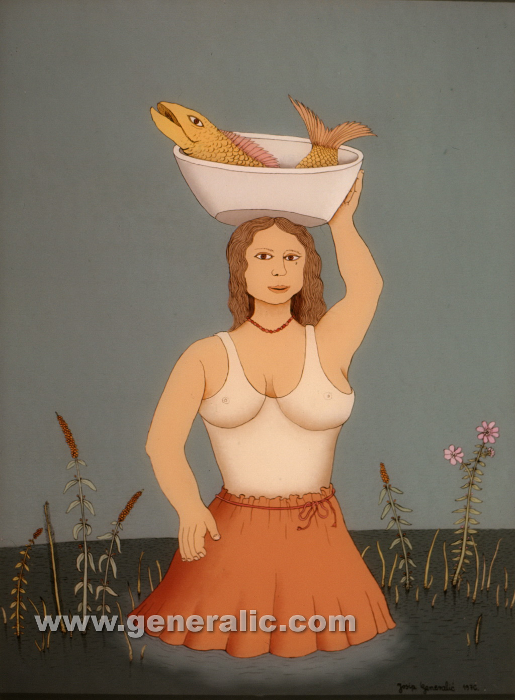 Josip Generalic, 1976, Woman with a fish, oil on glass, 73x46 cm