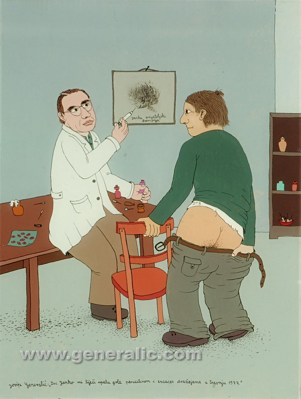 Josip Generalic, 1977, At the doctors, oil on glass