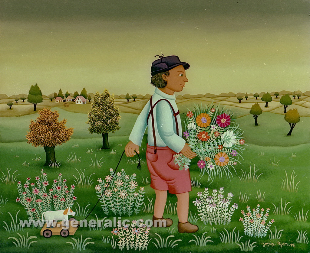 Josip Generalic, 1977, Boy with toy and flowers, oil on glass