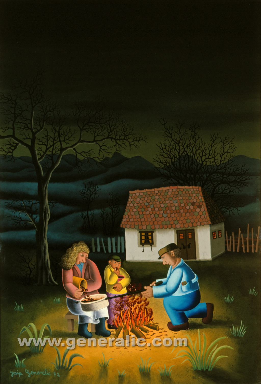 Josip Generalic, 1977, Eating chestnuts, oil on glass