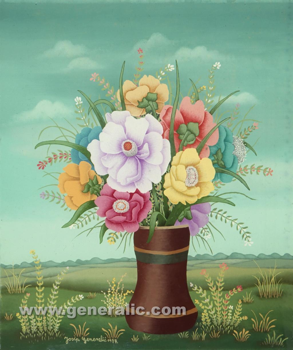 Josip Generalic, 1977, Flowers in brown vase, oil on glass