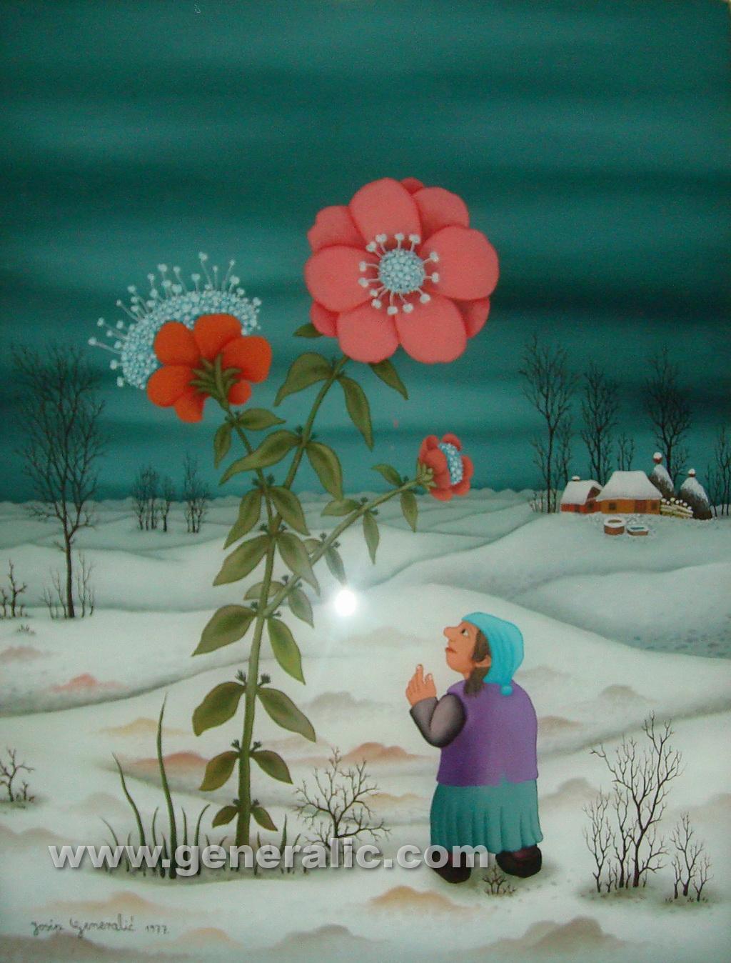 Josip Generalic, 1977, Girl with flower, oil on glass