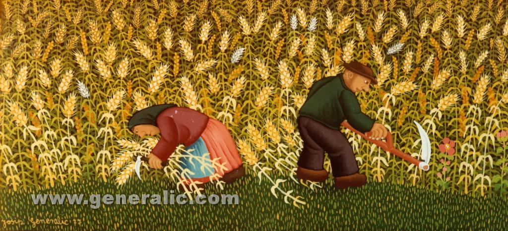 Josip Generalic, 1977, Mowing the hay, oil on glass