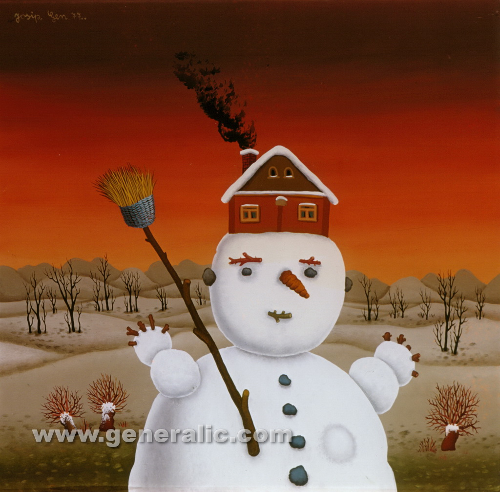Josip Generalic, 1977, Snowman with a house, oil on glass, 40x41 cm