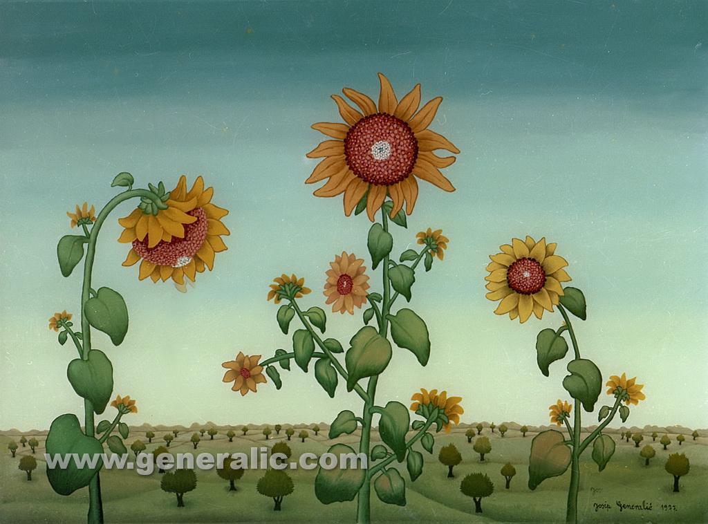 Josip Generalic, 1977, Sunflowers in landscape, oil on glass