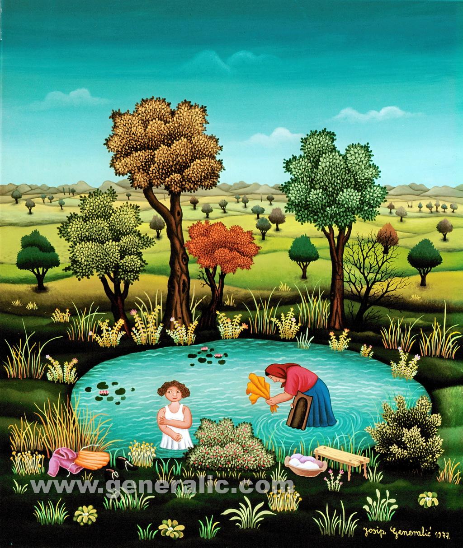 Josip Generalic, 1977, Washing in a pond, oil on glass