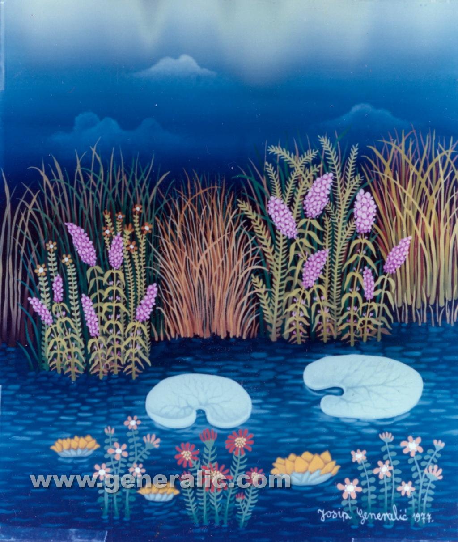 Josip Generalic, 1977, Water lilly, oil on glass, 35x30 cm
