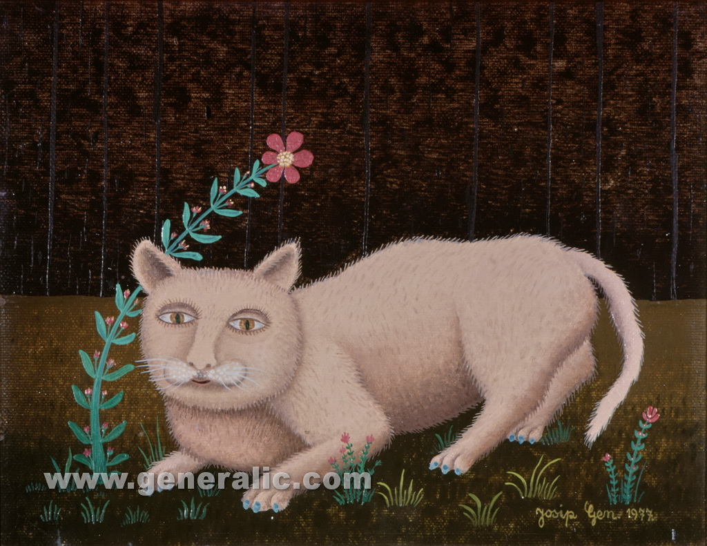 Josip Generalic, 1977, White cat, oil on canvas