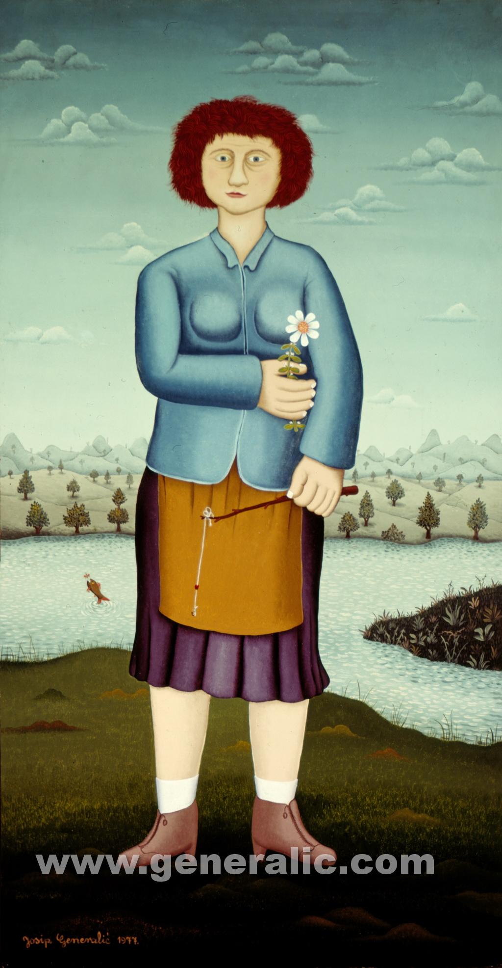 Josip Generalic, 1977, Woman with flower, oil on canvas
