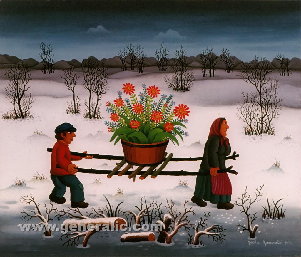 Josip Generalic, 1978, Big pot with flowers, oil on glass