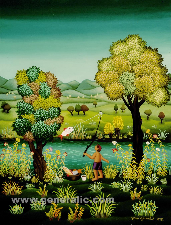 Josip Generalic, 1978, Fishing on river Drava, oil on glass