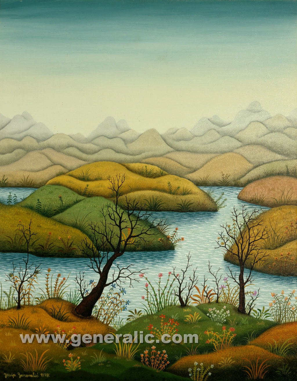 Josip Generalic, 1978, Landscape with river Drava, oil on canvas, 70x55 cm