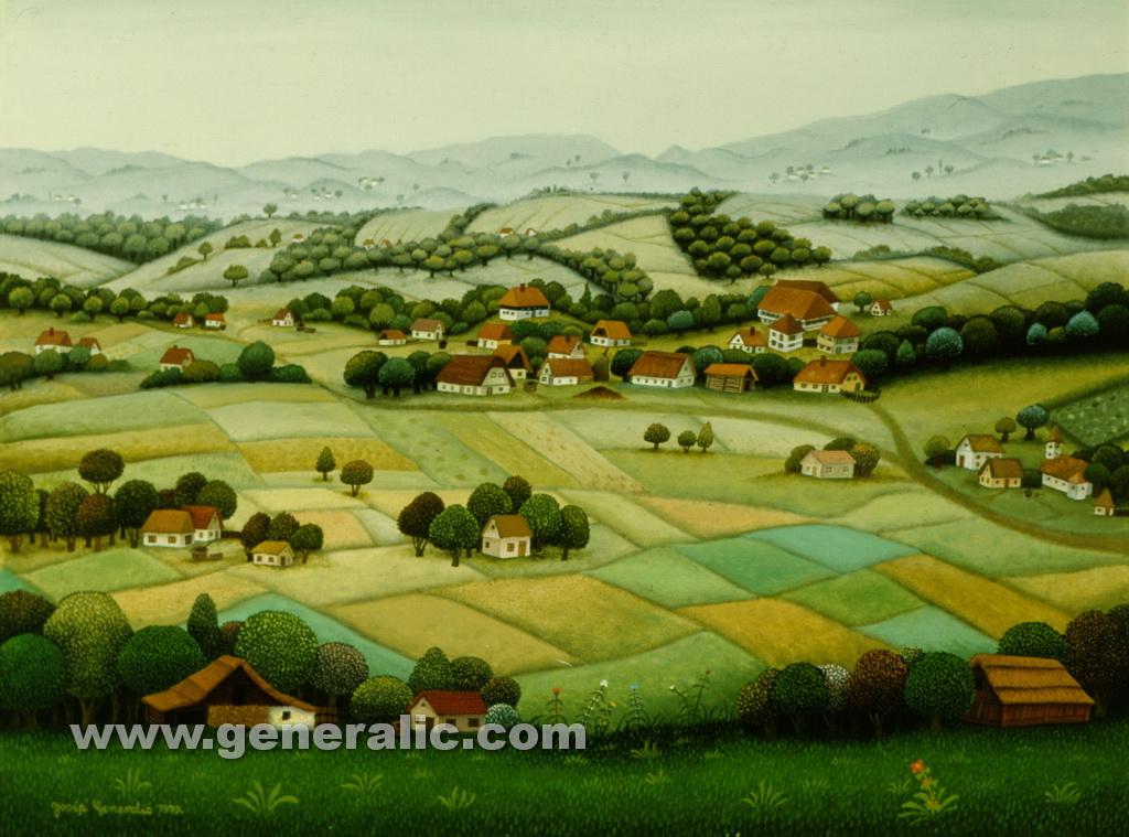 Josip Generalic, 1979, Landscape, oil on glass