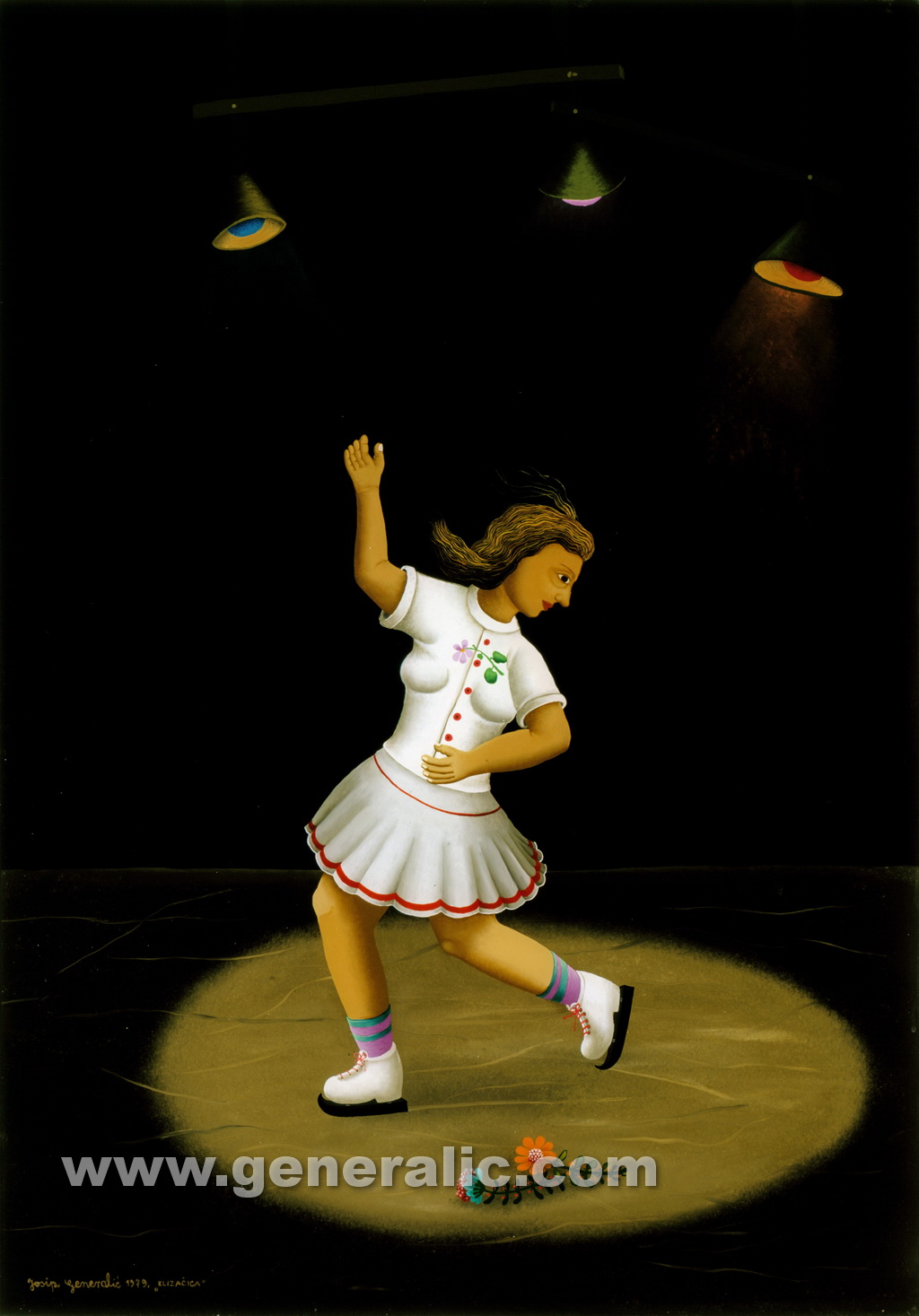 Josip Generalic, 1979, Skaterwoman, oil on glass, 70x90 cm