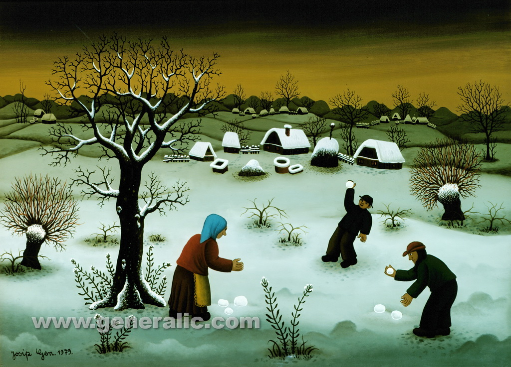 Josip Generalic, 1979, Snowballing, oil on glass