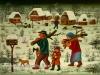 Josip Generalic, 1970, Christmas preparations, oil on glass