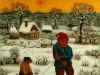 Josip Generalic, 1970, Friends with a sledge, oil on glass