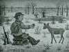Josip Generalic, 1970, Hunter feeding a deer, oil on canvas