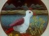 Josip Generalic, 1970, White bird, oil on glass