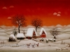Josip Generalic, 1970, Winter with two houses and three birds, oil on glass