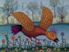 Josip Generalic, 1971, Bird over river Drava, oil on glass