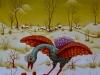 Josip Generalic, 1972, Blue bird in winter, oil on glass