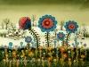 Josip Generalic, 1972, Blue flowers in winter, oil on glass