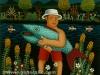 Josip Generalic, 1972, Fisherman with turquoise fish, oil on glass